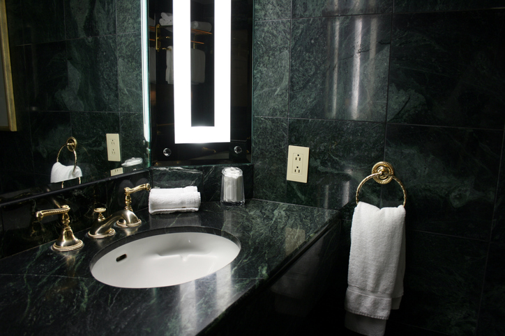 marble walls and bathroom countertops