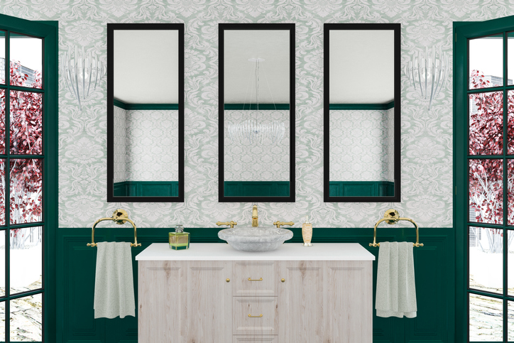 Beautiful Bathroom with custom wallpaper