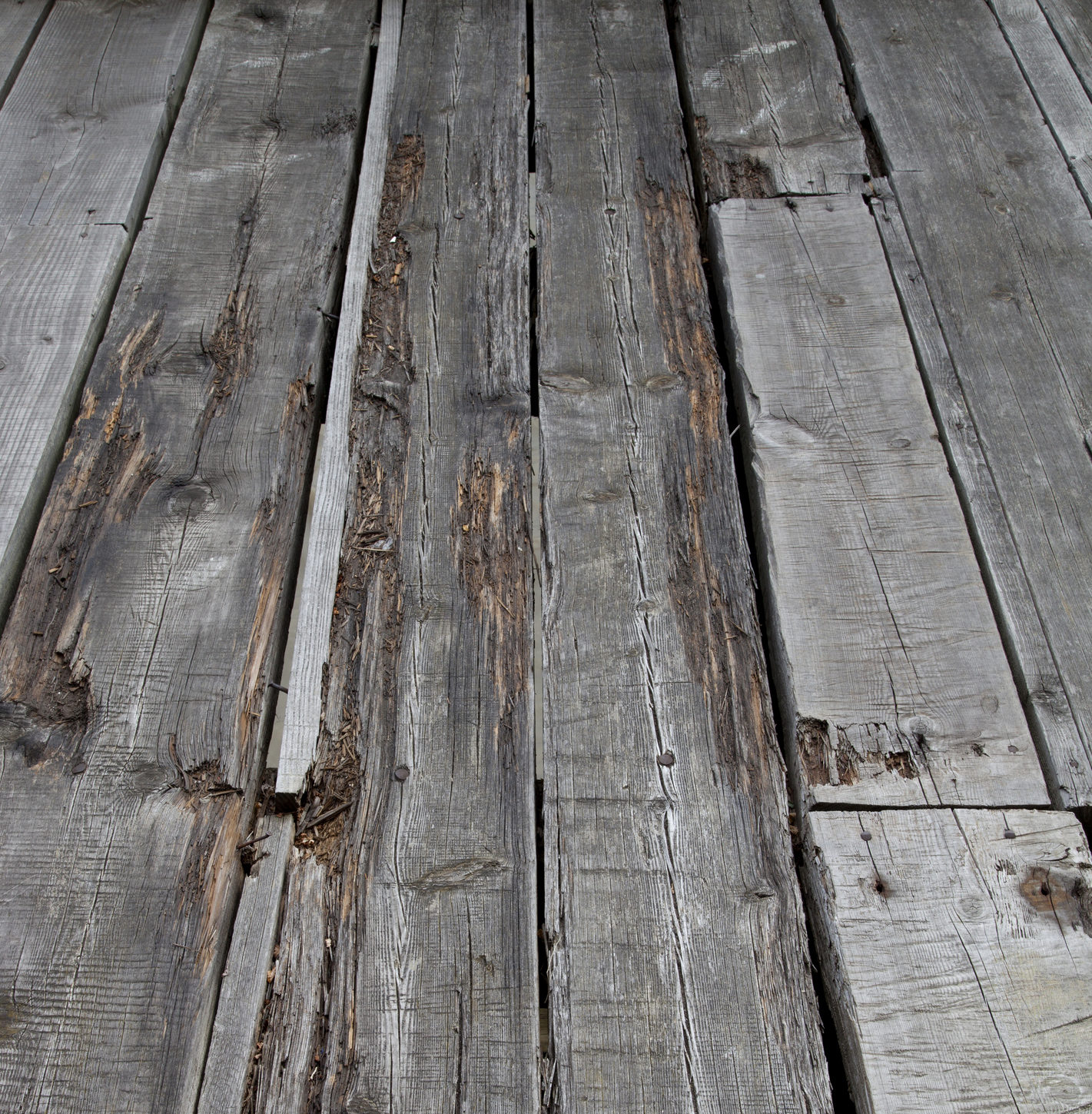 Weathered old decking